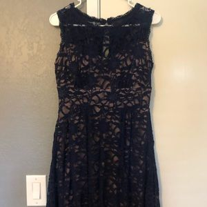 Dresses & Skirts - Lace overlay navy dress